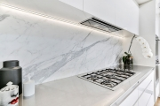 Marble splashback with stainless steel bench