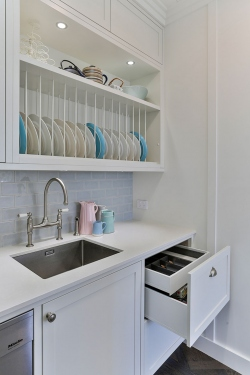 White scullery in country kitchen