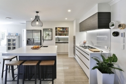 Modern kitchen with scullery - door open