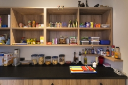 Black and timber pantry