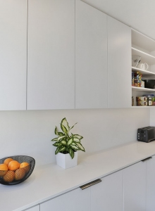 Overhead cabinets and open shelves