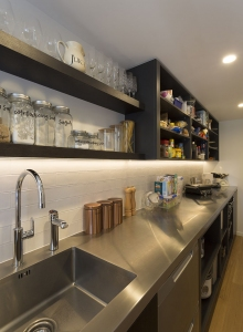Scullery with long stainless steel bench
