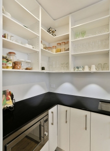 Black granite benchtop in scullery