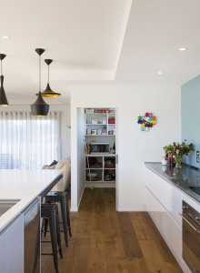 Galley kitchen with large panrty