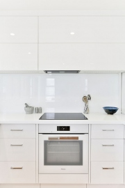 Overhead cupboards in small kitchen