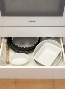 Toekick drawers - platter storage