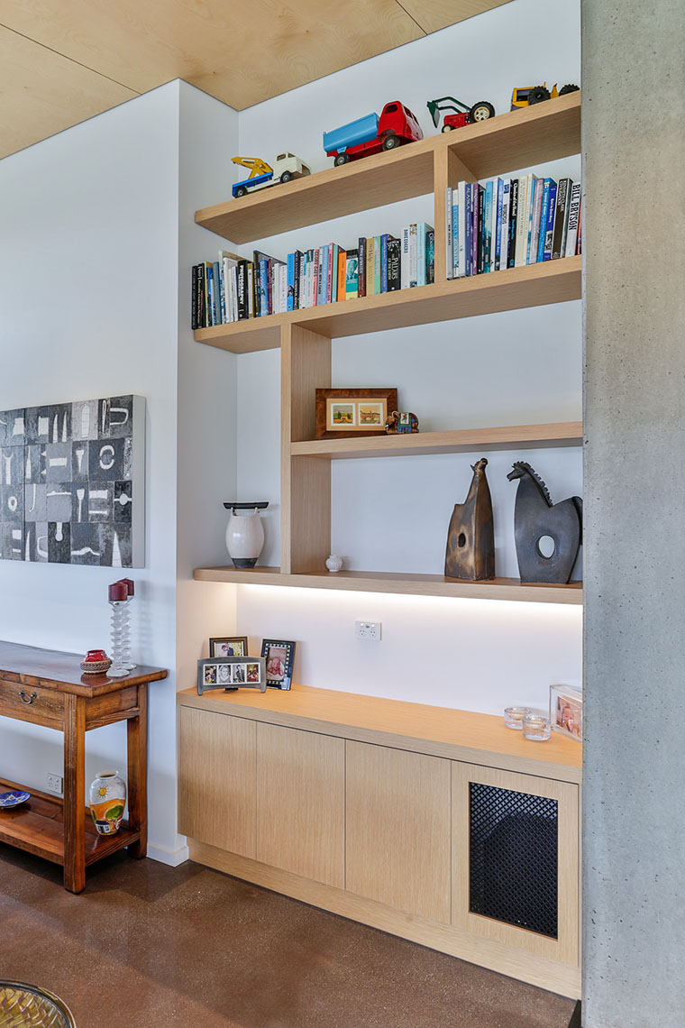 Recessed timber floating shelves