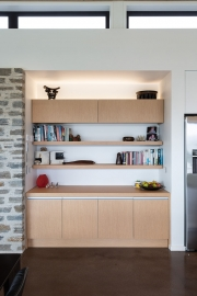 Display shelving in lounge