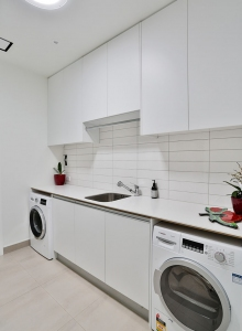 Custom joinery in laundry