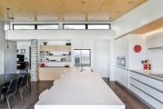 Galley kitchen with scullery door closed