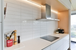 White tiled splashback