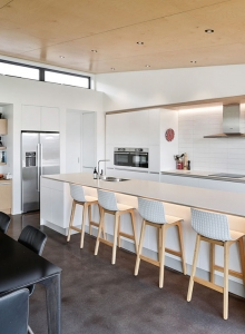 White galley kitchen with flush panels