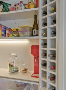 In-built tall wine rack in scullery