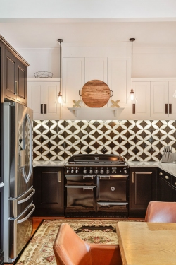 Lacquered black cabinets