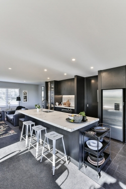 The black and white kitchen sits beautifully in this renovated home