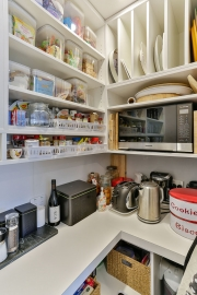 Open shelving is cost effective and everything is close at hand