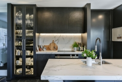 Porcelain benchtop and splashback with marble-look