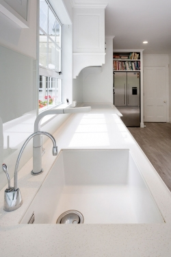 White kitchen sink and tap