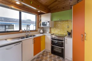 funky bright beach bach kitchen