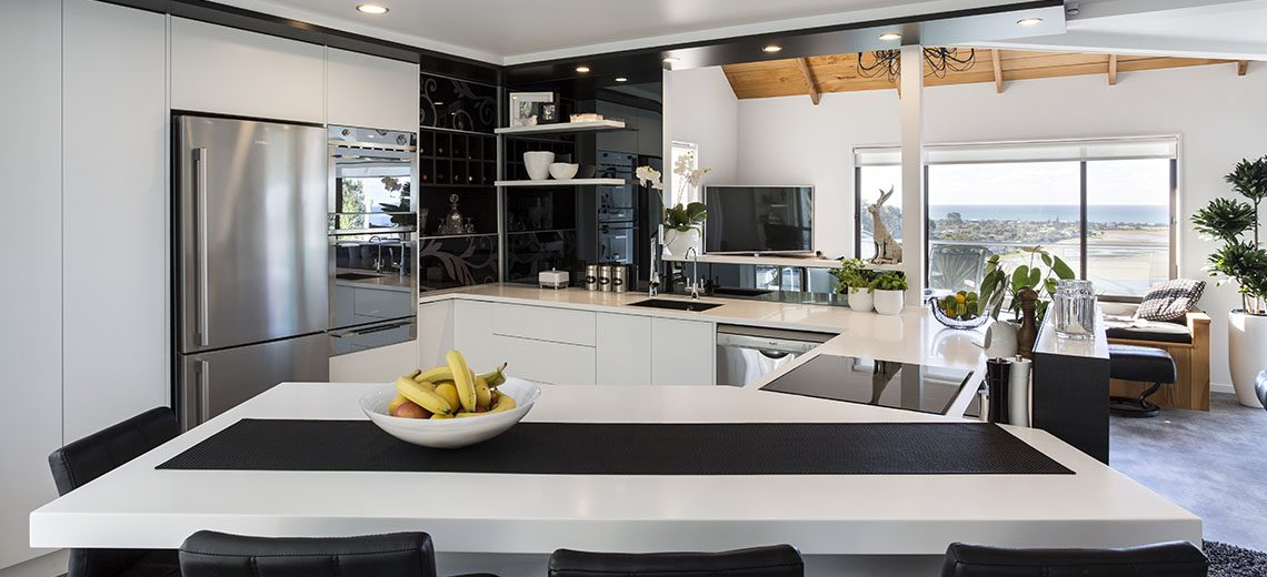 modern kitchen with unique splashback design