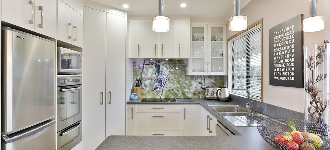 kitchen with unique printed splashback art
