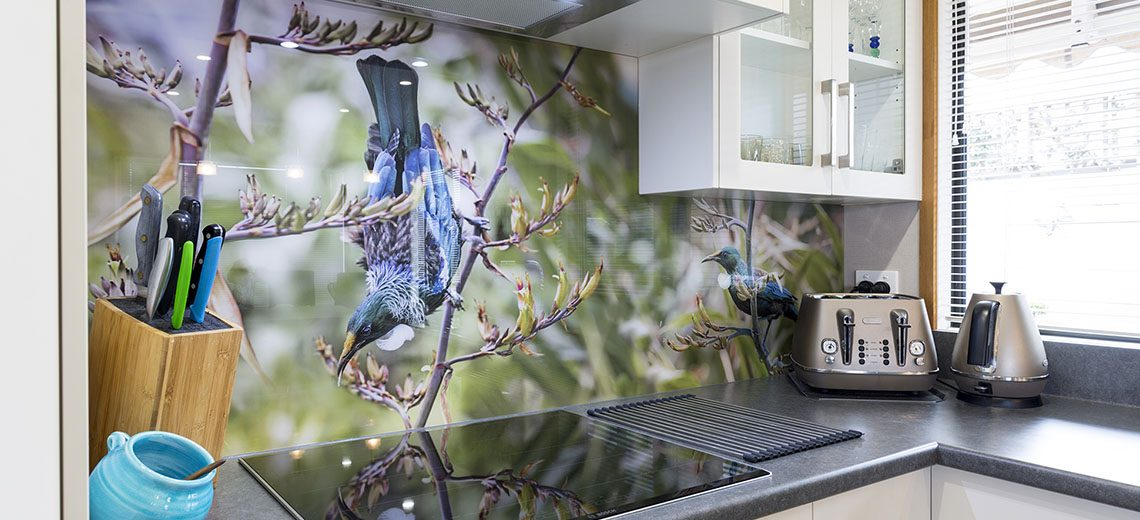 printed splashback tui native nz bird