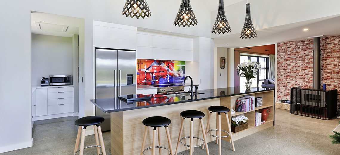 brightly coloured splashback contrast kitchen