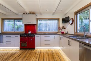 kitchen timber floors floating cupboard LED lights