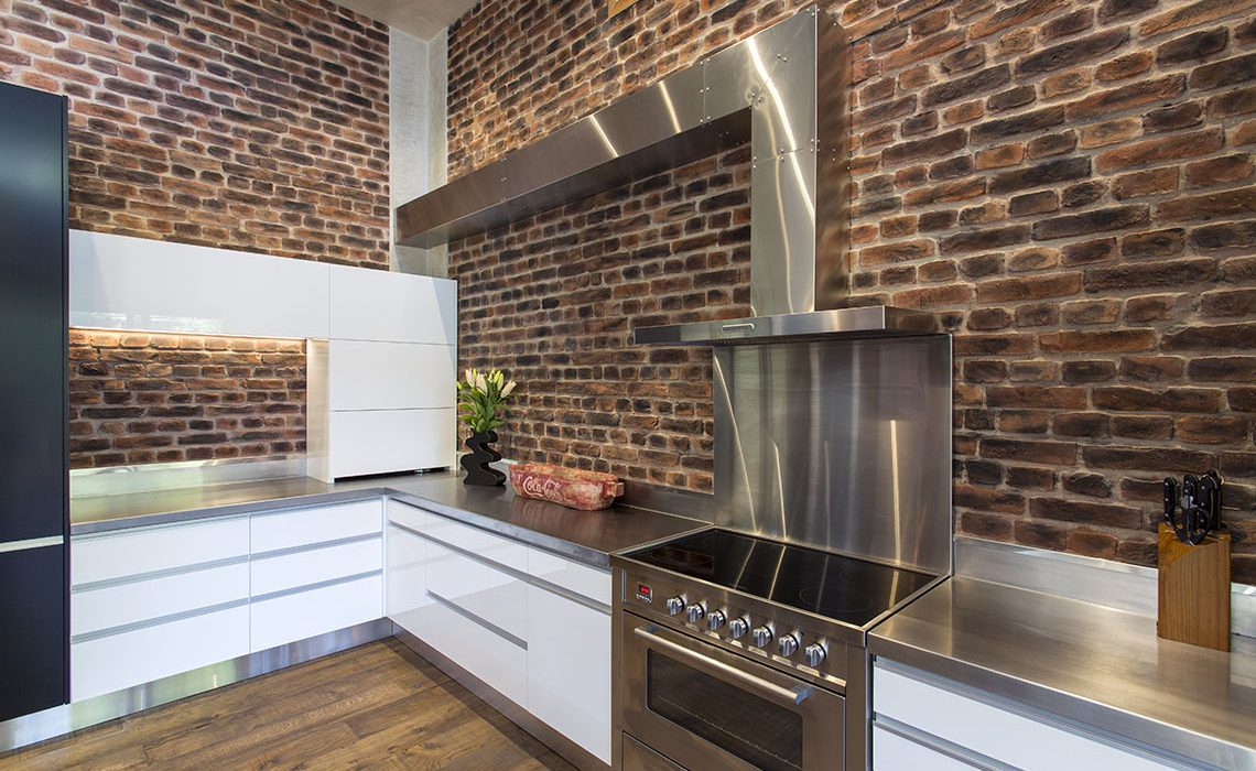 stainless steel cooker and range hood with extended flue
