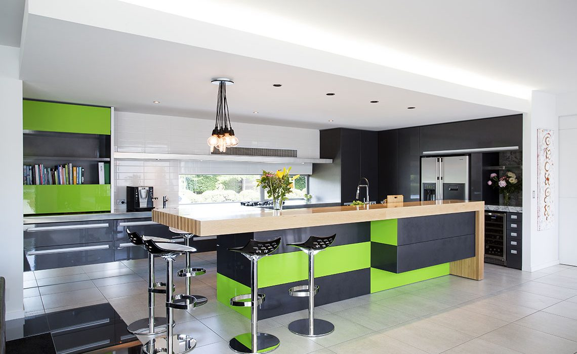 Lime green and black kitchen