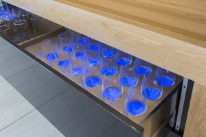 blue LED lighting wine drawer