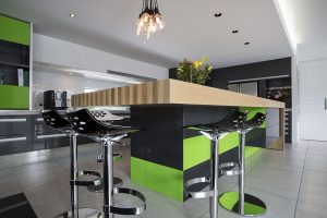 kitchen island green black timber