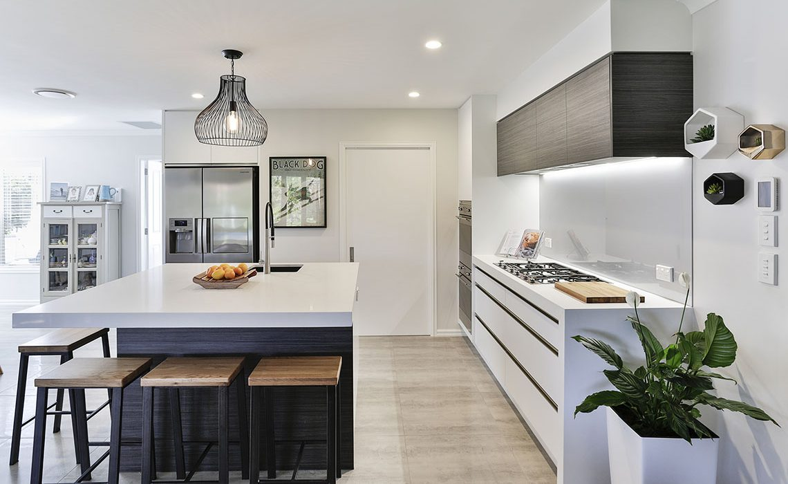 White kitchen with timber accents