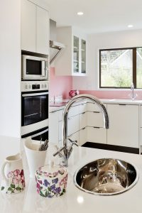 pink and white kitchen