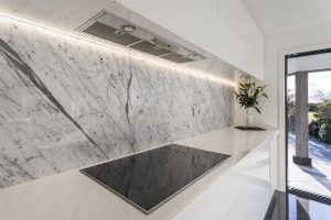 Marble splashback with LED strip lighting