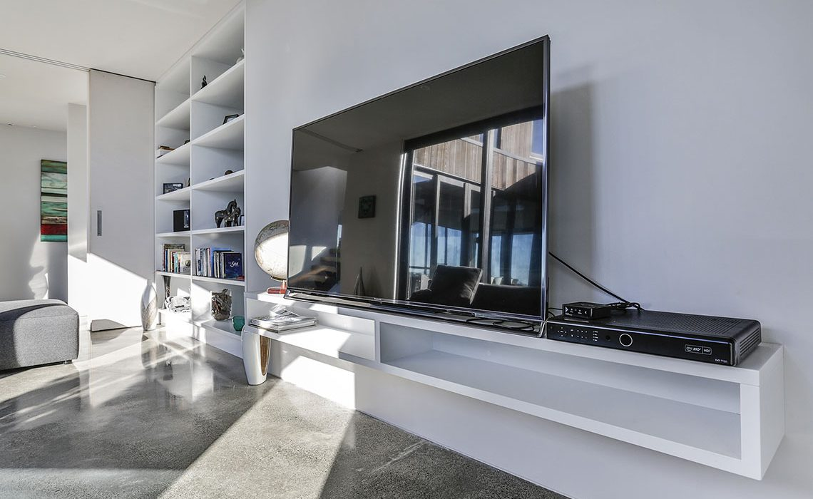 Bespoke entertainment unit cabinetry white