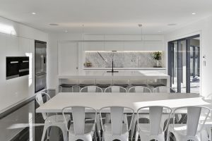 white minimalist kitchen galley style