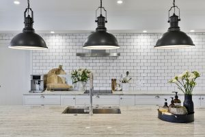 country style kitchen tiled splashback black pendant lights