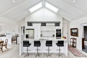 white country style kitchen high pitched roof