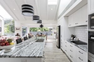 country style kitchen black white granite benchtop