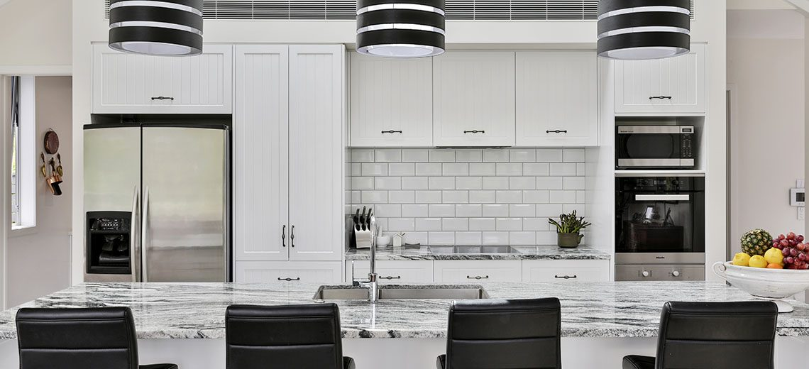 white and black country style kitchen