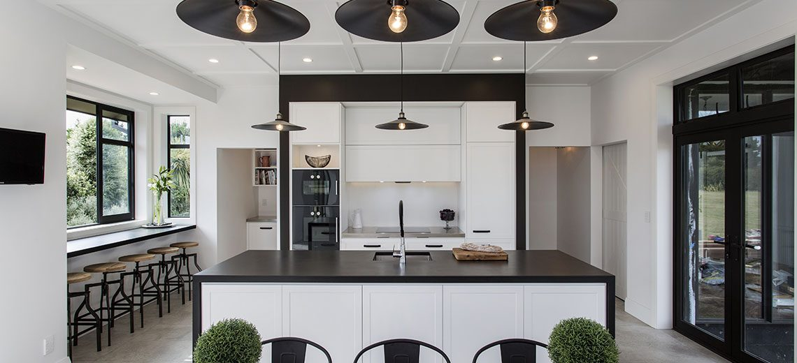 country style kitchen with black and timber detail