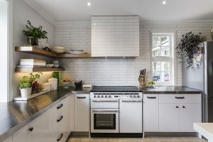 white country kitchen white oven brick