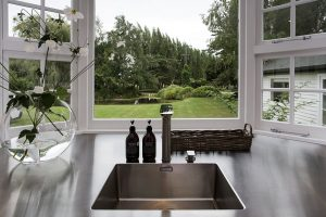 country kitchen stainless steel bench and sink