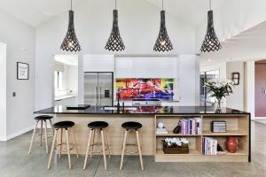 colourful kitchen modern black benchtop