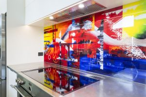 bright splashback colourful kitchen