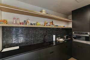 black scullery timber shelves