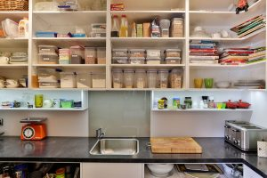 scullery HPL benchtop sink open shelving