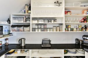 scullery black benchtop open shelves