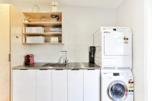 Laundry open shelving